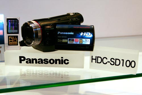 Here's a close-up of the SD100 camcorder. The new 3MOS system it boasts means richer and more accurate colors.