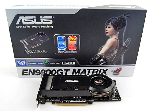The ASUS EN9800GT Matrix came in a simple, fuss-free black and white box proudly proclaiming its Hybrid Cooler and Super Hybrid Engine.