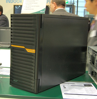 This is the Acer Altos G540M2 tower server. It features the latest Intel Tylersberg platform to support dual Nehalem-class Intel Xeon 5500 processors - the latest workstation platform. Other features include dual Gigabit LAN, 96GB maximum memory support and dual PSU support, eight 3.5-inch SATA SAS drives and up to 16 2.5-inch SATA SAS drives. All the SATA drives are hot-swappable.
