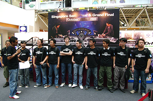 Here are the ten finalists for Iron Tech 2008 having some words with the emcee before the start of the competition.