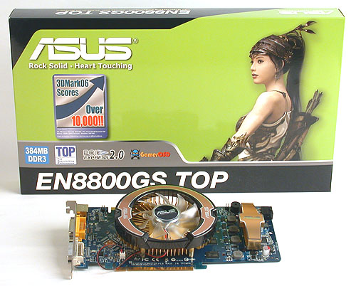 Our first look at a GeForce 8800 GS, an overclocked TOP edition from ASUS.