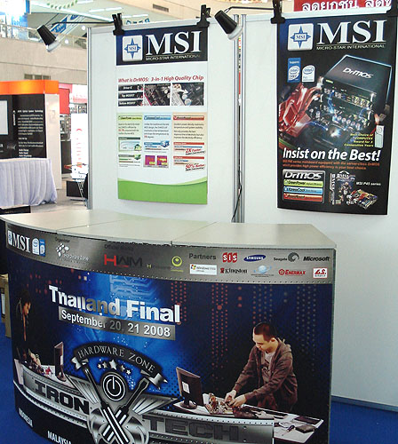 As the main sponsor, MSI had its extensive range of PC hardware on show at the Thailand Iron Tech Semi Final. Here's one of the booths there during the setup phase.
