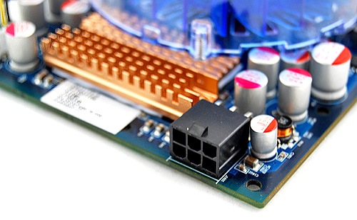 The HIS Radeon HD 4850 IceQ 4 Turbo X draws its power through a 6-pin connector. ATI recommends a PSU with a rating of at least 450W for a single card setup. For a dual CrossFireX setup, a PSU with a 550W rating or more is required.
