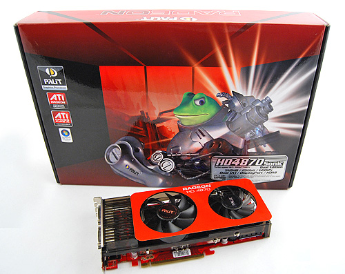 The Palit Radeon HD 4870 Sonic Dual Edition comes in a large dark red box, featuring Palit's mascot, Frobo the frog. It's almost impossible to miss.