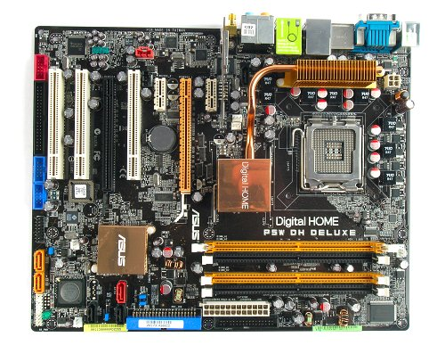 The ASUS P5W DH Deluxe motherboard.