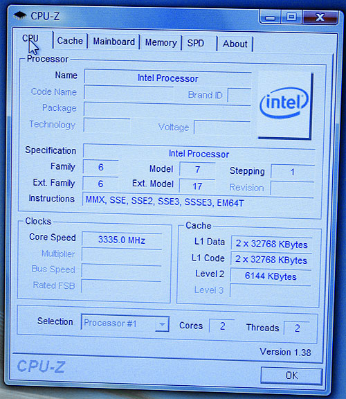 CPU-Z screenshot of Wolfdale (pre-production sample of dual-core 45nm Penryn). Note that some of the values detected by CPU-Z are inaccurate.