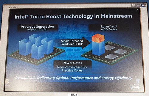 Not only is Lynnfield able to better optimize its power consumption by shutting down inactive processing cores compared to the Core 2 series, but it is also able to scale up in terms of frequency, limited only by the processor's TDP limit.