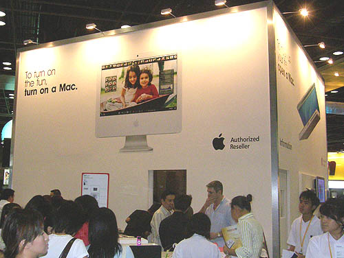 There's no mistaking the iconic white decor of the Apple booth.