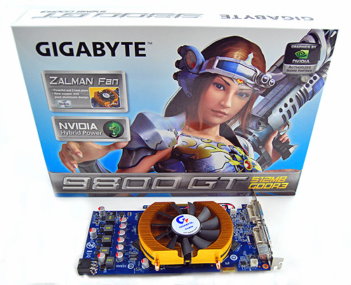 The Gigabyte 9800 GT came in a simple looking box, featuring what seems to be some sort of a warrior princess.