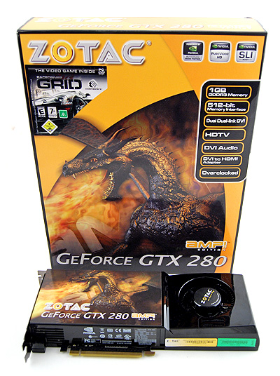 The Zotac GeForce GTX 280 AMP! Edition comes in Zotac's now customary orange box. The fire-breating dragon on it gives an indiction of the kind of performance you can expect from the card.