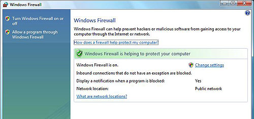 Here's the new main firewall options page in Windows Vista.