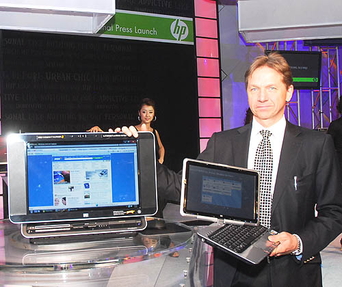 Clearly the main attractions of the evening - the HP TouchSmart PC and the HP Pavilion tx1000 entertainment notebook.