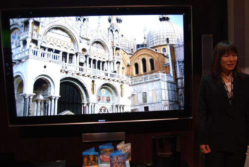 "Sony showed us an 82"" prototype LCD TV that displays video images at 4096 x 2160 resolution (or 8.8 megapixels). Based on Sony's SXRD projection technology and the high-end CineAlta 4K cinema system, the 82-incher can show one large image or four 2K resolution videos."