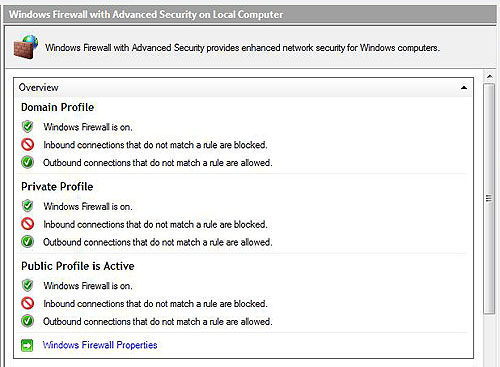 More advanced Firewall options for Windows Vista.