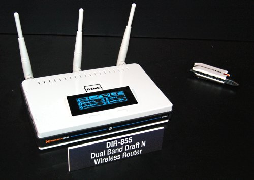 Dual band home routers have emerged in numbers this CES and the D-Link Extreme N DIR-855 is a new Draft-N wireless router that will intelligently use the 2.4GHz band for general bandwidth like web browsing and the 5GHz band for bandwidth-intensive tasks like HD video streaming.