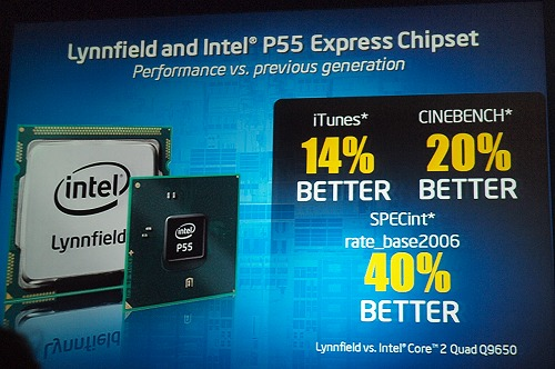 Here's a slide from Intel dictating how a Lynnfield processor will perform versus a Core 2 Quad 9650. At least some number to keep in mind for expectations.