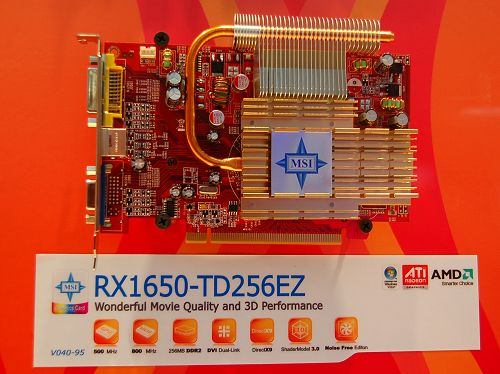 An all-passive Radeon X1650 PRO operating at 500/1600MHz DDR. The connectivitors at the back panel should be telling enough of the segment it's targetting.