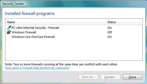 This window informs you of the Firewall applications currently installed on Windows Vista.