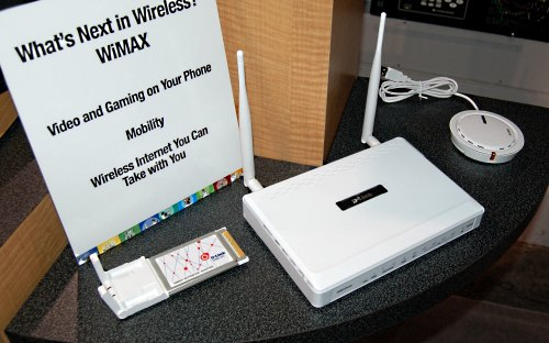 D-Link also had prototype display units of their next generation WiMAX enabled routers and adapters at their booth.