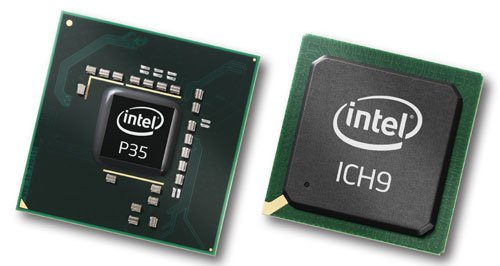 Intel P35 and ICH9 chipset cross diagram.