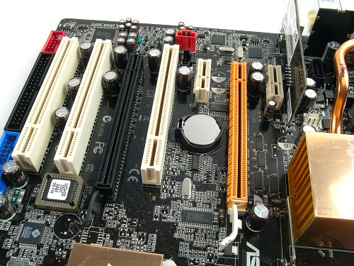 Intel 975X Express promises dual x8 CrossFire capabilities. Also notice the expansion slot design and spacing.