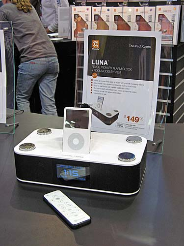 Not exactly a new entry, but Luna is another notable alarm clock cum room audio system by XtremeMac and comes with remote too.