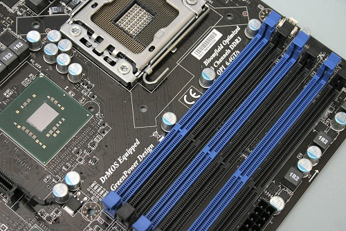 Here's an up-close shot of an MSI-based Intel X58 motherboard. Six DDR3 DIMM slots is going to be quite the norm for these high-end platforms.