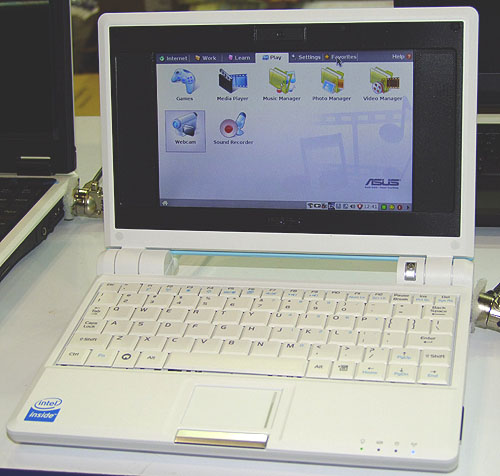 The widely popular ASUS Eee PC is naturally found at the PC Show, with both the original 4GB and 8GB models available. While they are installed with Linux, they are compatible with Windows XP Home (not included). The 4GB model is going for $398 while the 8GB model is $598. ASUS will also throw in an optical mouse if you get the larger 8GB model.