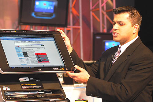 Ameer Karim from HP's Digital Home Solutions was on hand to demonstrate the finer points of its touchscreen based interface.