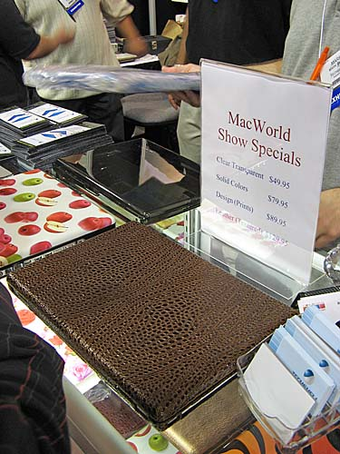 There were a lot of casings (as in hard enclosures, not just sleeves) for the MacBooks/MacBook Pros at the show floor, but it was those from Techshell that caught our attention the most. There were many fancy designs to choose from, including this pictured leather textured one. The snap-on shells are made of durable plastic and require no adhesive. However, these beauties don't come cheap. The leather one costs US$129.95, and this is already a Macworld special price.