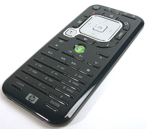 A streamlined form of the usual larger Windows Media Center remote, HP has added buttons for its own QuickPlay application. However, that could lead to confusion among users initially since both multimedia applications overlap in terms of functionality, especially now with some similar controls duplicated.
