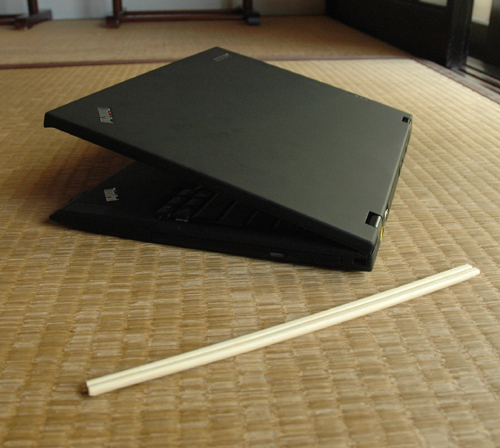 Need further proof of the svelte nature of the X300? The chopsticks here should provide sufficient evidence of its slim form factor.