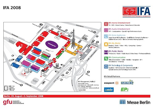 The floorplan for IFA 2008 shows six new halls at the south entrance labeled under Home Appliances. There are 28 main halls in total with some halls having sub-levels that stretch two to three floors. Click the picture for a larger view.