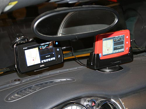 The Clarion MiND (Mobile Internet Navigation Device) installed on the car's dashboard providing users with real-time, location-based services and full Internet-based experiences.