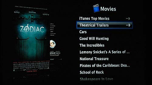 "You can sort your video by date or show. And with wireless networking, you can easily stream theatrical trailers from the iTunes Store. The ""iTunes Top Movies"" option will show the latest TV offerings from iTunes Top TV Shows. Oh, did we forget to mention that the CoverFlow technology/effect is implemented on the Apple TV as well?"