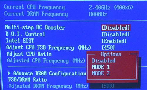 If you're having problems getting your overclocked FSB to run stable, you may wish to enable this Multi-step OC Booster option in the BIOS. What it does is to allow some control over when your overclocked settings kick in, e.g. take effect only when you enter the OS instead of right at boot up.
