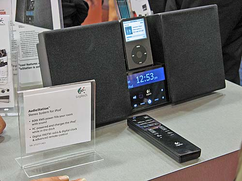 The Logitech AudioStation is a stereo system for your room (speced at 80W RMS). Has Digital FM radio, clock functions and doubles up as your iPod charging station. Comes with remote.