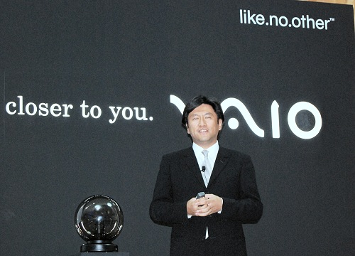 Mr Hideyuki Furumi, Senior General Manager of Sony's VAIO Business Group, talking about the integration of new software that Sony is introducing to the VAIO platform to enhance the user's interaction with the notebooks, which we hope doesn't end up as bloatware that slows down the system.