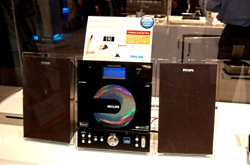 The BTM628 is another different design for a Bluetooth enabled entertainment system. Like the BTM630, it can play music from the CD player, connected USB device or via Bluetooth. This particular model also comes with a wireless iPod dock as well, which can be used to stream audio from your iPod to the player.