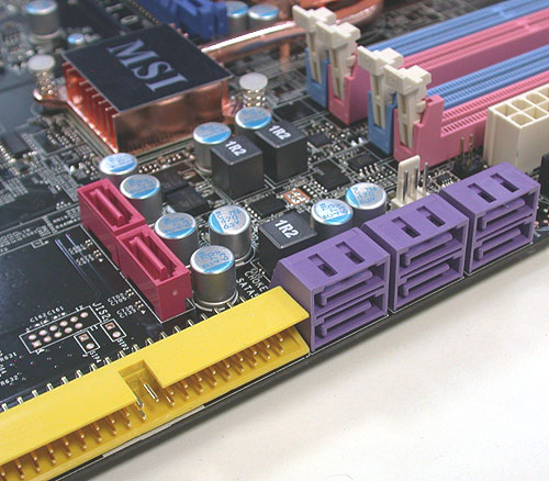 There are six SATA 3.0Gbps ports along with 2 SATA RAID. The included IDE port is courtesy of a third party IC, in this case, a JMicron JMB363.