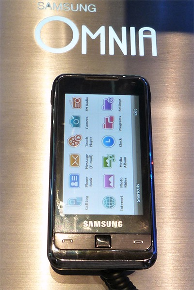 The highlight of the booth is the Omnia. Due to be released commercially next week, the Omnia is the first Windows Mobile 6.1 device from Samsung. Featuring a full touchscreen interface, 5-megapixel camera and 8GB internal memory, watch out for it.