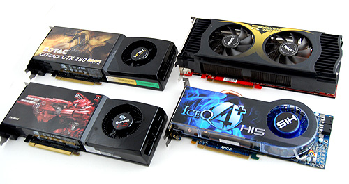 Combined, these four cards have 5 GPUs, nearly 5GB of video memory, close to 3000 shader units, over 5.5 billion transistors, and boast roughly 5.3 teraFLOPS of sheer processing power. If this is not enough for you, we don't know what is.
