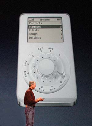 We're fans of the early generation iPod, but this can't be the iPhone, Steve. Thankfully, it was just a joke.
