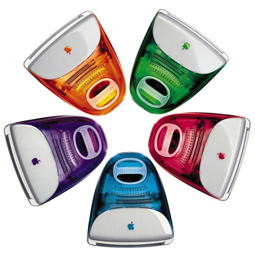 The original iMac with its funky colors made them easily recognizable to the masses, and while the focus of colors may have changed to a polycarbonate white and the products have gone a lot slimmer, the essential iMac design has not changed.