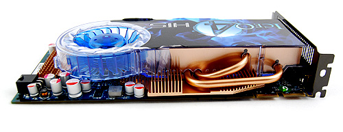 The HIS Radeon HD 4850 IceQ 4 Turbo X sports an elaborate heatsink that covers almost the entire card. Note the numerous fins and the thick heat pipes.