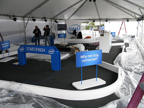 Visitors can race mini RC cars in the Pit Lane from the Intel exhibit.
