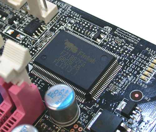 This ASIC is responsible for the hardware monitoring (voltages, temperatures) and the tweaks like fan speed and voltage adjustments.