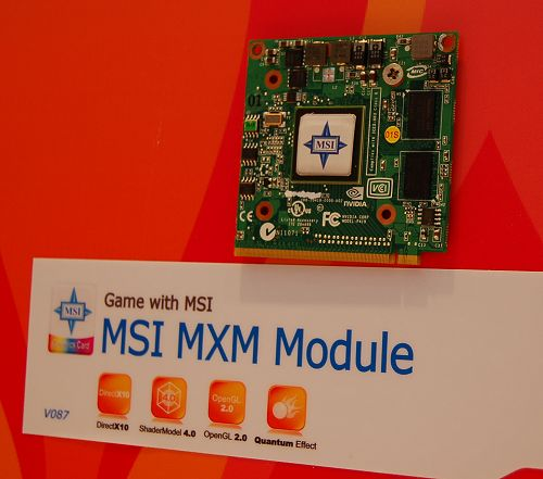 In addition to desktop graphics card, MSI is also a manufacturer of MXM modules for sometime now. This one's a DX10 part, which means we can�t be sure (again) of the specs or class. However, it should be a low-end one judging by its form-factor.