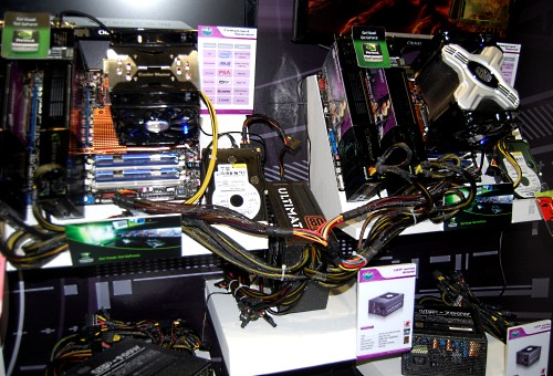 Shown here is Cooler Master's demo system which uses their 1100W version of their UCP (Ultimate Circuit Protection) PSU series to power both systems, which are both running two high end double core video cards (SLI and CrossFire) each.