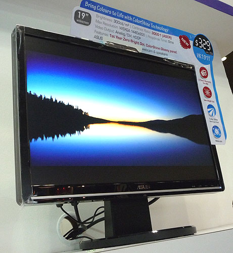Targeted at gamers, this ASUS PG191 19-inch LCD display has a low response time of 2ms and a native resolution of 1280 x 1024. The monitor also comes with an integrated webcam and speakers, along with 3 USB ports. ASUS has a first year zero bright dot policy to reassure consumers that this display is worth its $499 price tag.